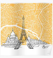 Paris France Skyline Map Poster