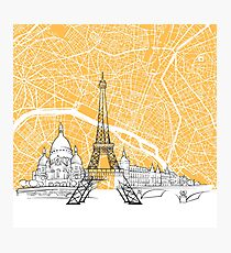 Paris France Skyline Map Photographic Print