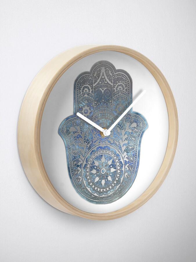 Alternate view of Silver Blues Hamsa Hand Clock