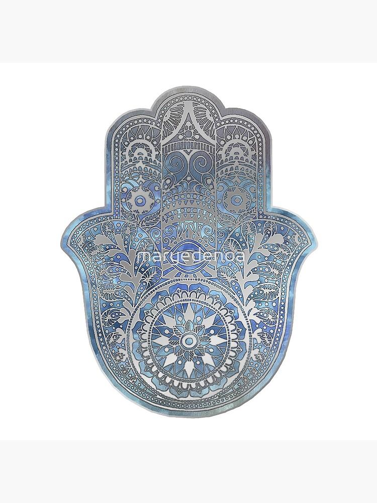 Silver Blues Hamsa Hand by maryedenoa