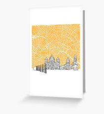 Berlin Germany Skyline Map Greeting Card