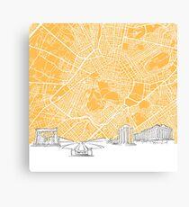 Athens Greece Skyline Map Canvas Print