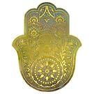 «Acuarela de colores y mano de oro Hamsa» de maryedenoa