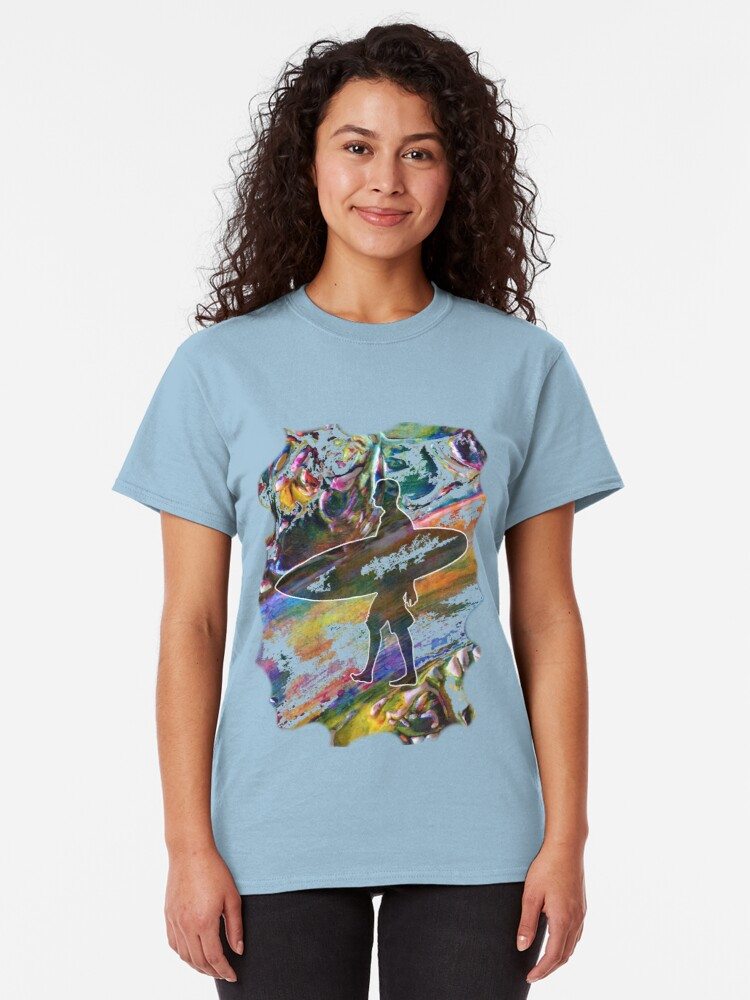 Alternate view of SURF'S UP COLOURFUL SURFER SILHOUETTE Classic T-Shirt