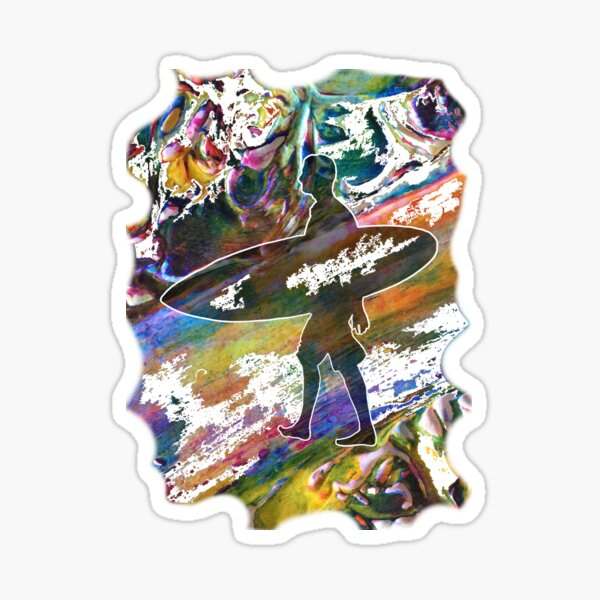 SURF IS UP COLOURFUL SURFER SILHOUETTE Sticker