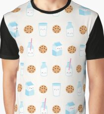 Cute Milk and Cookies Pattern on Cream Graphic T-Shirt