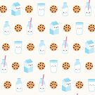 Cute Milk and Cookies Pattern on Cream by mycutelobster