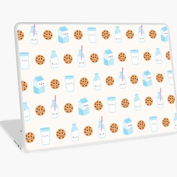 Cute Milk and Cookies Pattern on Cream Laptop Skin