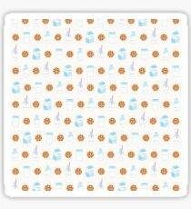 Cute Milk and Cookies Pattern on Cream Sticker