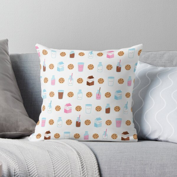 Cute Milk and Cookies Pattern on White Throw Pillow