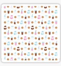 Cute Milk and Cookies Pattern on White Sticker