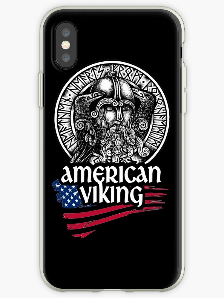 American Viking Odin Symbol With Nordic Runes Iphone Cases