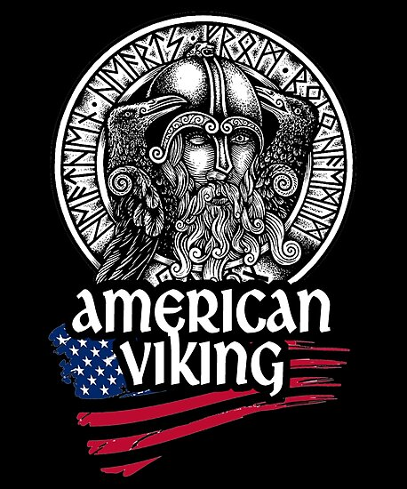 American Viking Odin Symbol With Nordic Runes Photographic