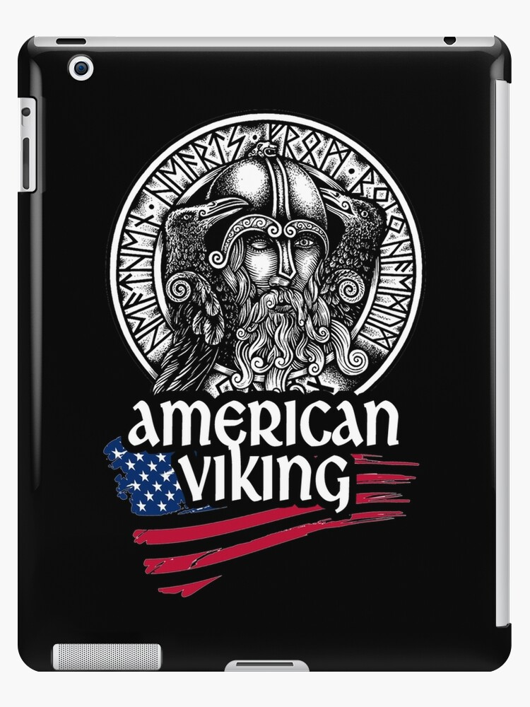 American Viking Odin Symbol With Nordic Runes Ipad Cases Skins