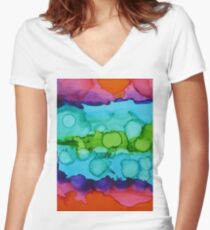Alcohol Ink Pattern Women's Fitted V-Neck T-Shirt
