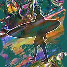 SURF'S UP COLOURFUL SURFER SILHOUETTE by Nicola Furlong