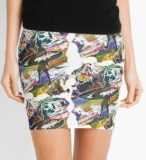 SURF'S UP COLOURFUL SURFER SILHOUETTE Mini Skirt
