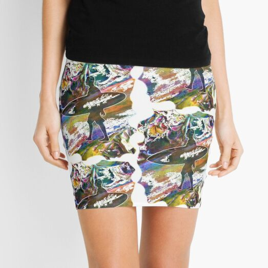 SURF IS UP COLOURFUL SURFER SILHOUETTE Mini Skirt