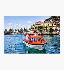 Orange Lifeboats Across Colorful Bay Photographic Print