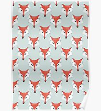 Fox Pattern on Sage  Poster