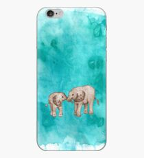 Baby Elephant Love - sepia on teal watercolour iPhone Case