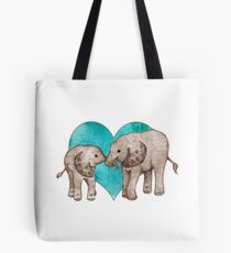 Baby Elephant Love - sepia on teal watercolour Tote Bag