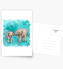 Baby Elephant Love - sepia on teal watercolour Postcards