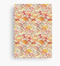 Woodland Hedgehogs - a pattern in soft neutrals  Canvas Print