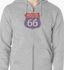 Route 66 Road Sign Zipped Hoodie