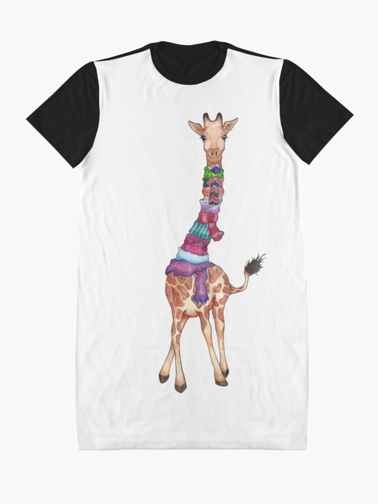 Alternate view of Cold Outside - Cute Giraffe Illustration Graphic T-Shirt Dress