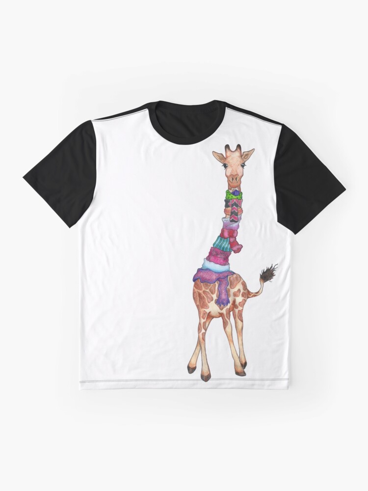 Alternate view of Cold Outside - Cute Giraffe Illustration Graphic T-Shirt