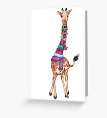 Cold Outside - Cute Giraffe Illustration Greeting Card