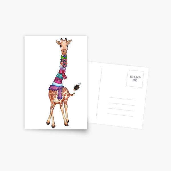 Cold Outside - Cute Giraffe Illustration Postcard