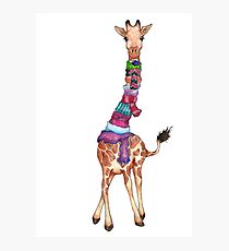 Cold Outside - Cute Giraffe Illustration Photographic Print