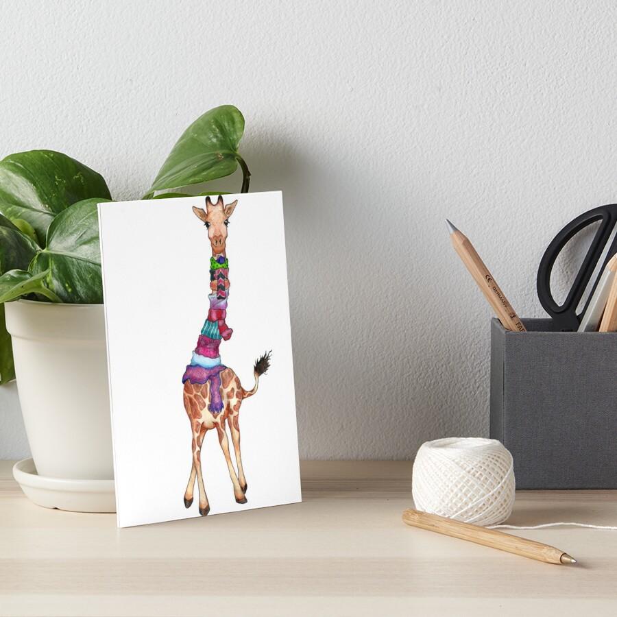Cold Outside - Cute Giraffe Illustration Art Board Print