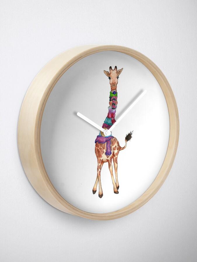 Alternate view of Cold Outside - Cute Giraffe Illustration Clock