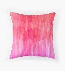 Hot Pink, Melon & Magenta Watercolor Abstract Throw Pillow