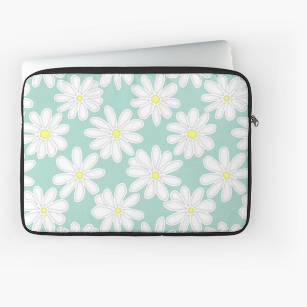 Bright Happy Daisies on Mint Laptop Sleeve
