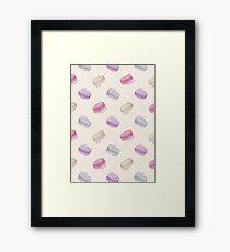 French Macaron Pattern - raspberry, pistachio, lemon & blueberry Framed Print