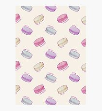 French Macaron Pattern - raspberry, pistachio, lemon & blueberry Photographic Print