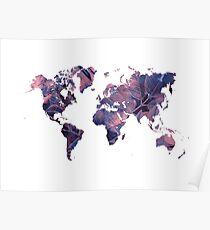 world map 76 purple Poster