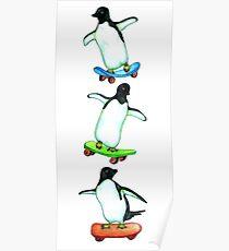 Happy Wheels - Penguins on Skate Boards Poster