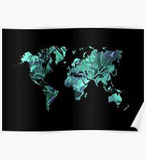 world map 77 blue Poster