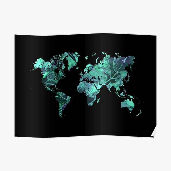 world map 77 blue #map #worldmap Poster