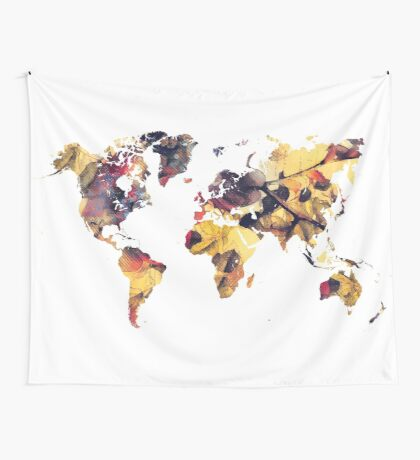 world map 78 yellow Wall Tapestry