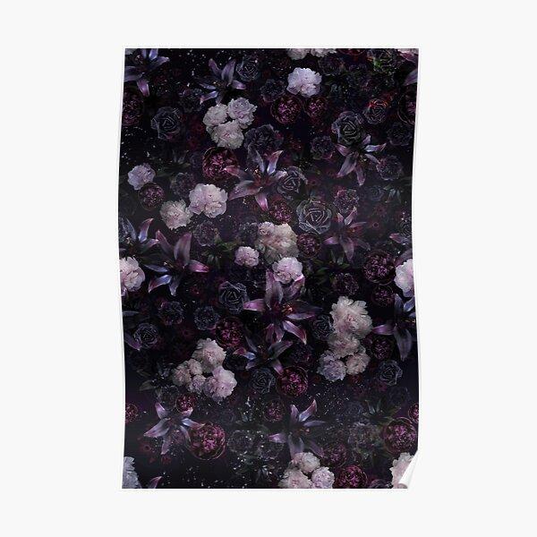 Midsummer Nights Dream #Dark Floral #Midnight #Black #Rose #Night Poster