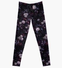 Midsummer Nights Dream #Dark Floral #Midnight #Black #Rose #Night Leggings