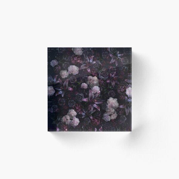 Midsummer Nights Dream #Dark Floral #Midnight #Black #Rose #Night Acrylic Block