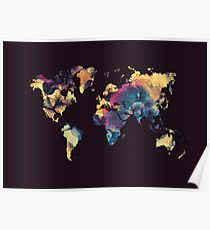 world map 79 black Poster