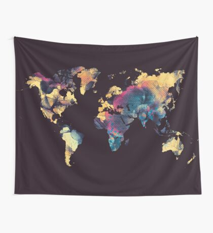 world map 79 black Wall Tapestry